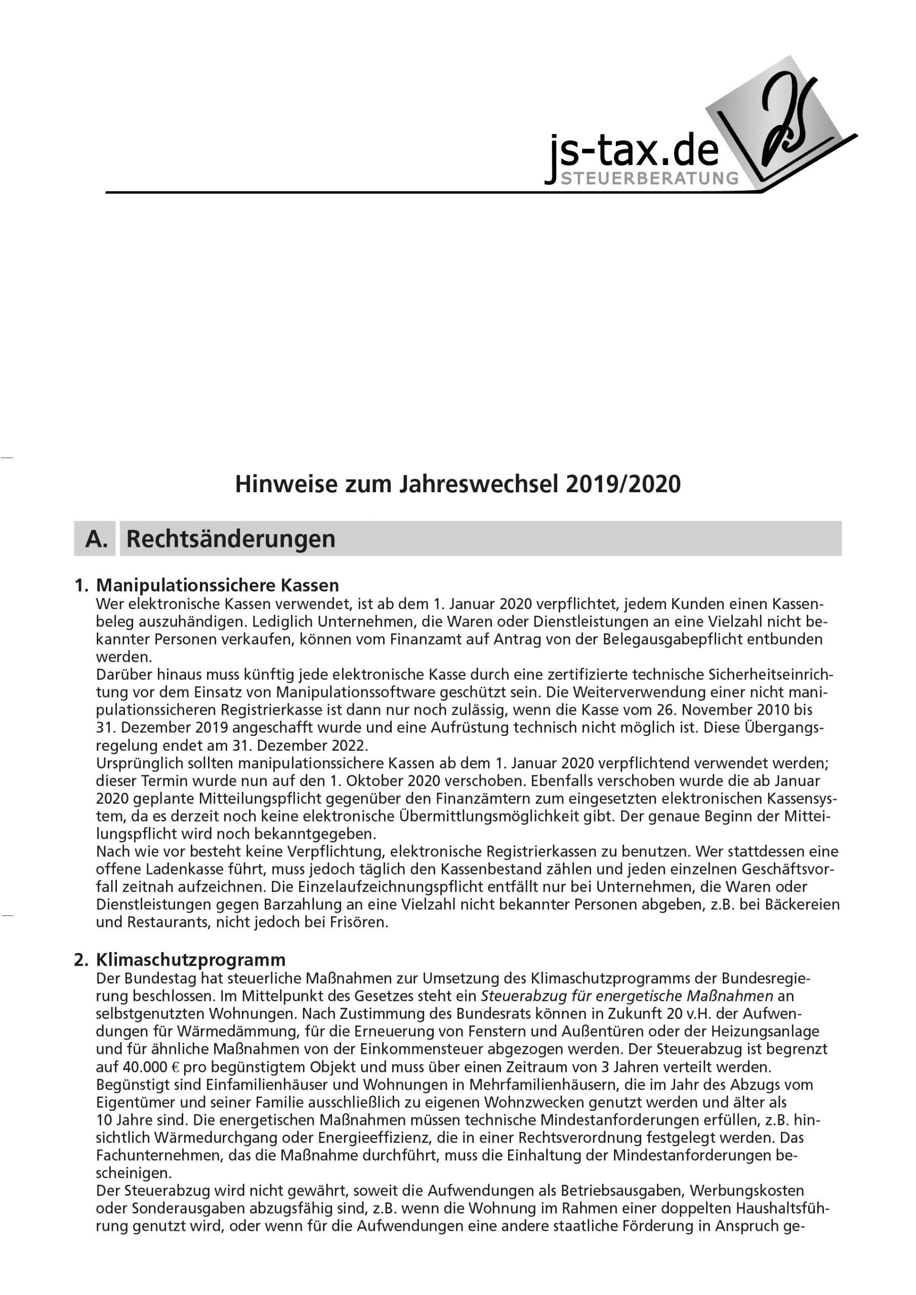 js-tax Steuerberatung Mandantenrundschreiben 2019-12 S1