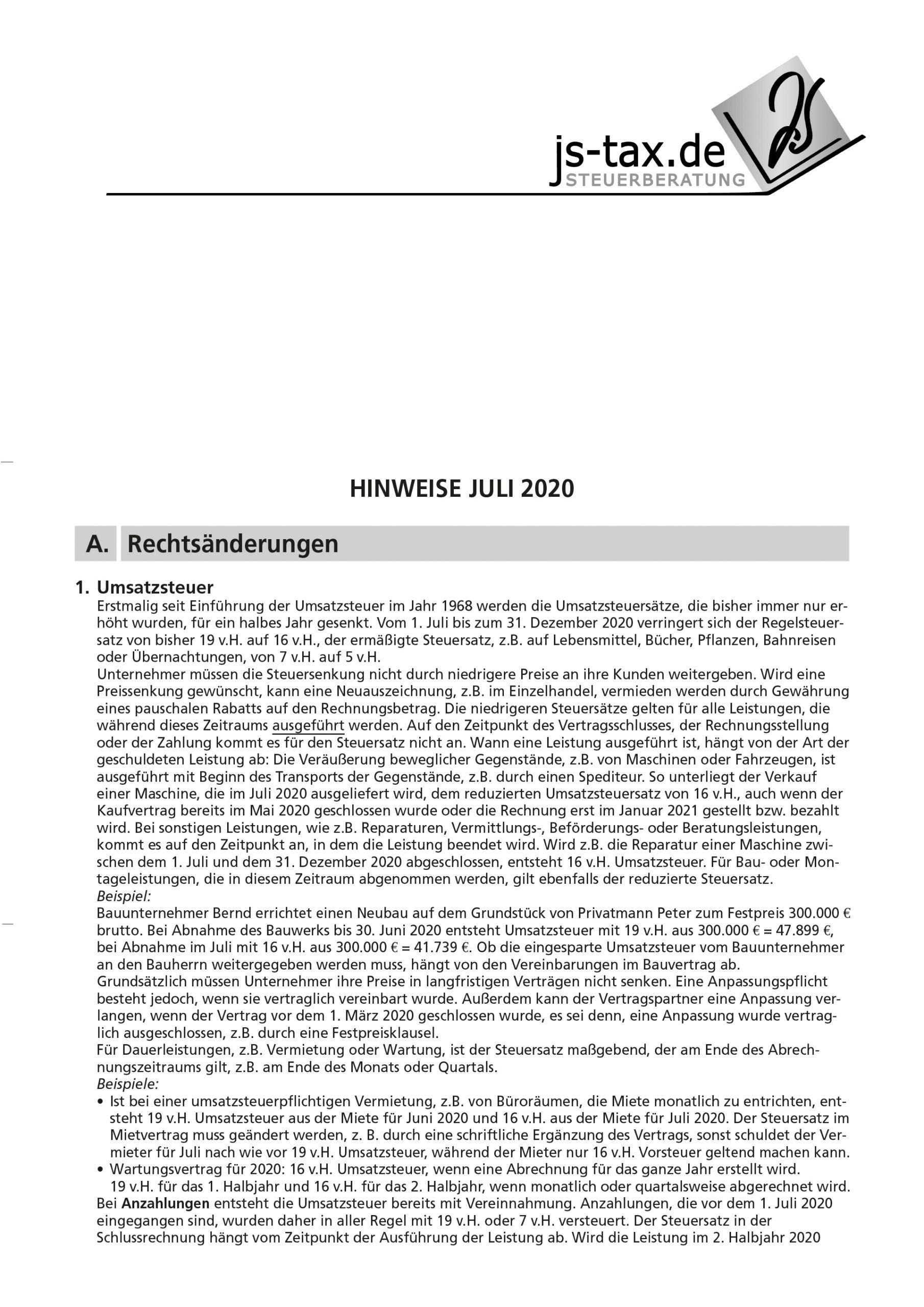 js-tax Steuerberatung Mandantenrundschreiben 2020-07 S1
